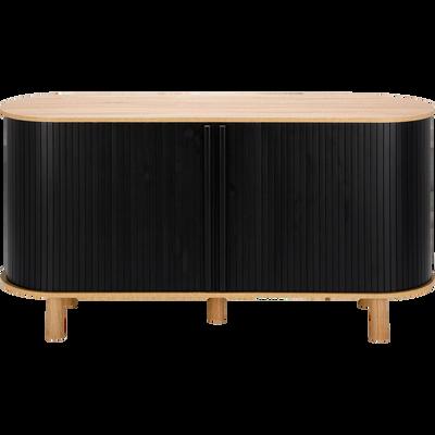Buffet bas coloris noir et chêne avec portes coulissantes-ROLL