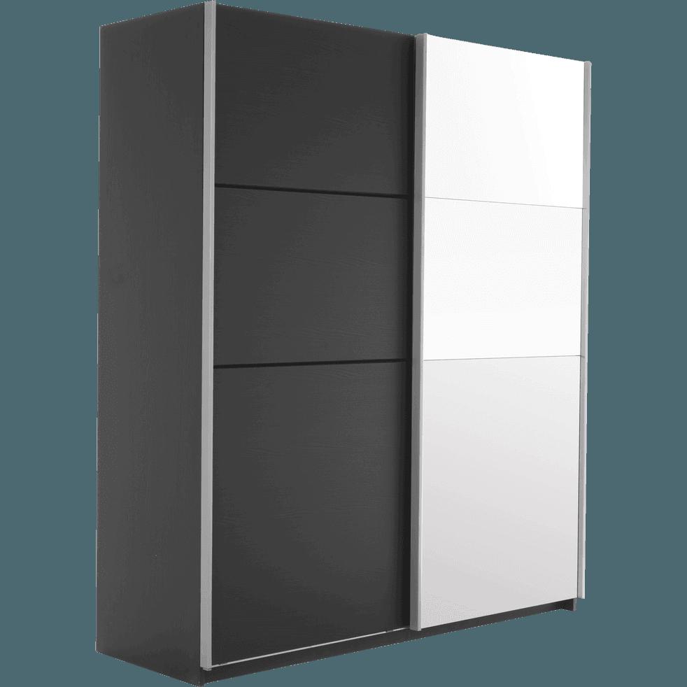 Armoire 2 portes coulissantes en b ne noir slidy armoires alinea - Alinea armoire porte coulissante ...