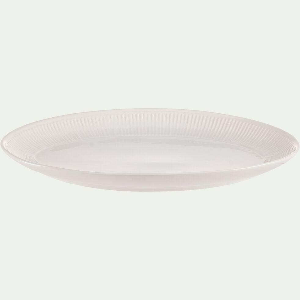 Plat ovale en faïence L40xl28xh4cm - blanc ventoux-MORA