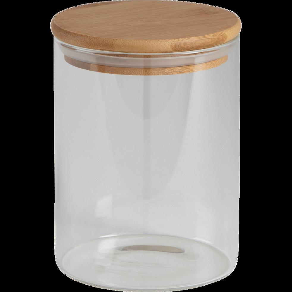 Bocal en verre H13cm avec couvercle en bambou-BILL