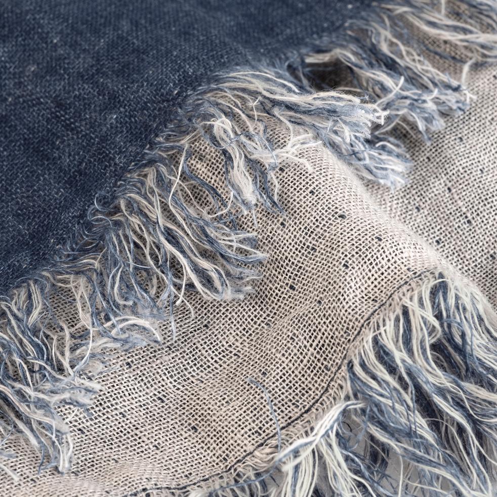 Plaid écharpe en lin bleu marine 43x185cm-JUSTIN