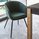 Chaise en tissu vert cèdre avec accoudoirs-PELAGIE