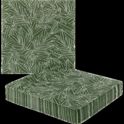 Lot de 20 serviettes en intissé vert motif laurier 40x40cm-LAURIER