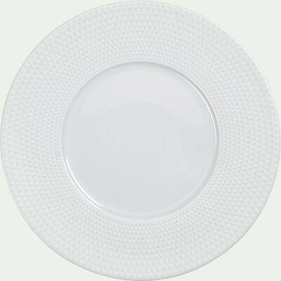 Assiette plate blanche en porcelaine  D27cm-SOL