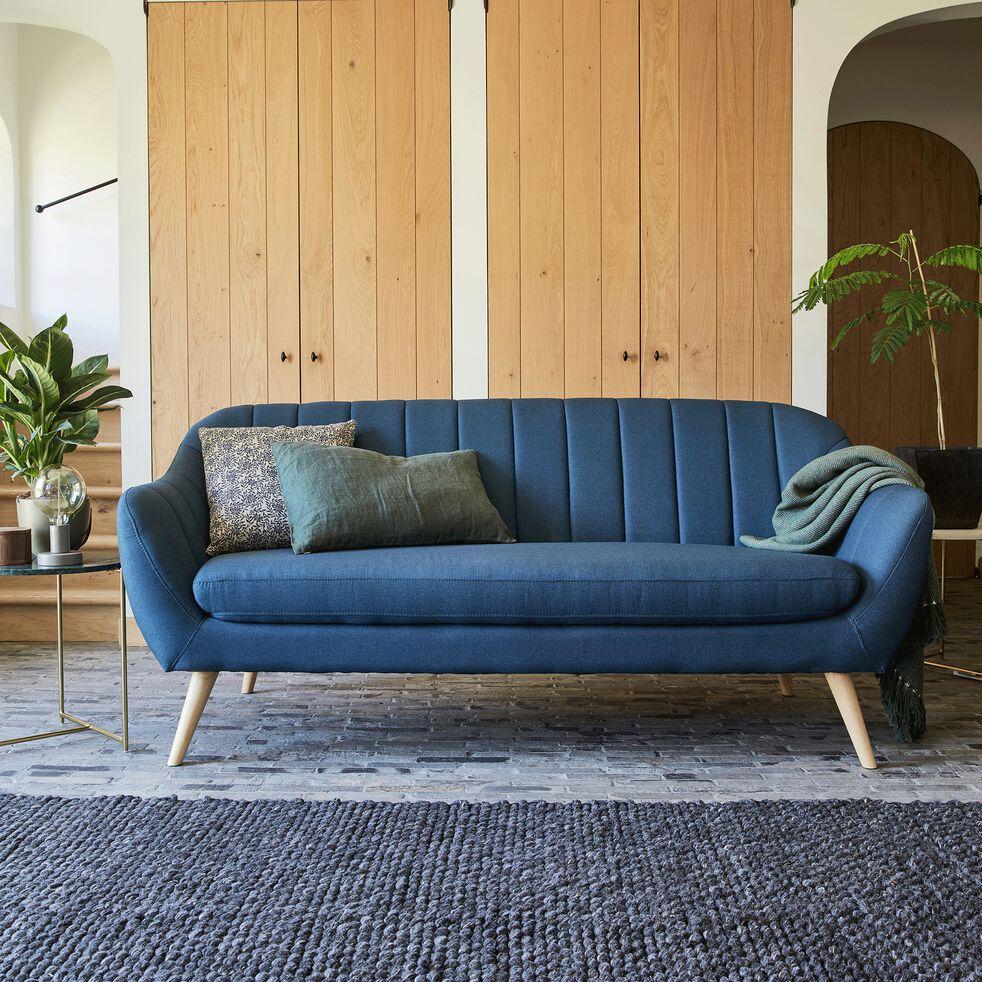 Canapé 3 places fixe en tissu bleu foncé-SHELL