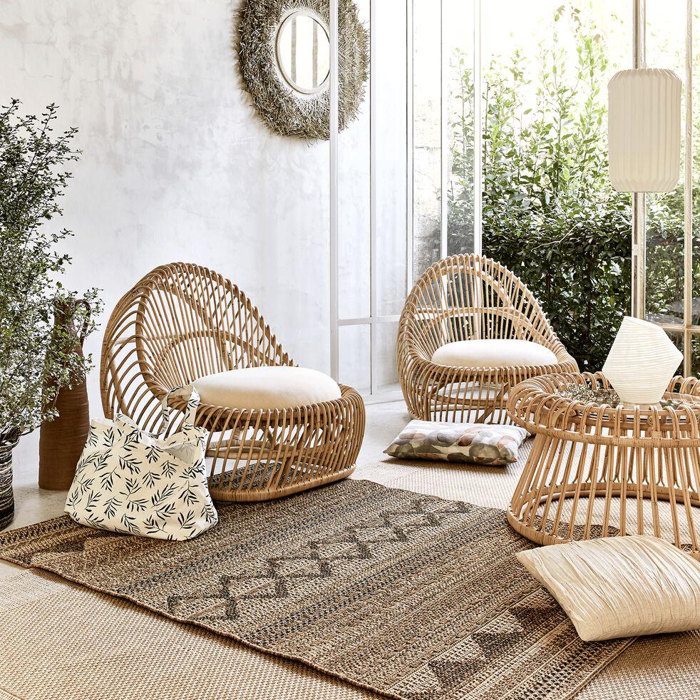 Table basse de jardin en rotin et verre - naturel-ANSOUIS
