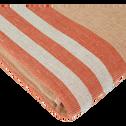Drap de plage fouta en coton rayé marron 100x180cm-ORONTE