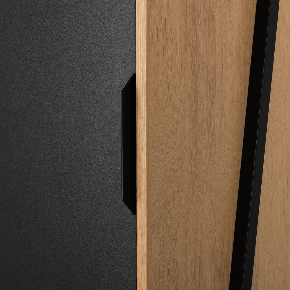 Armoire 4 tablettes noir et chêne-HENRY