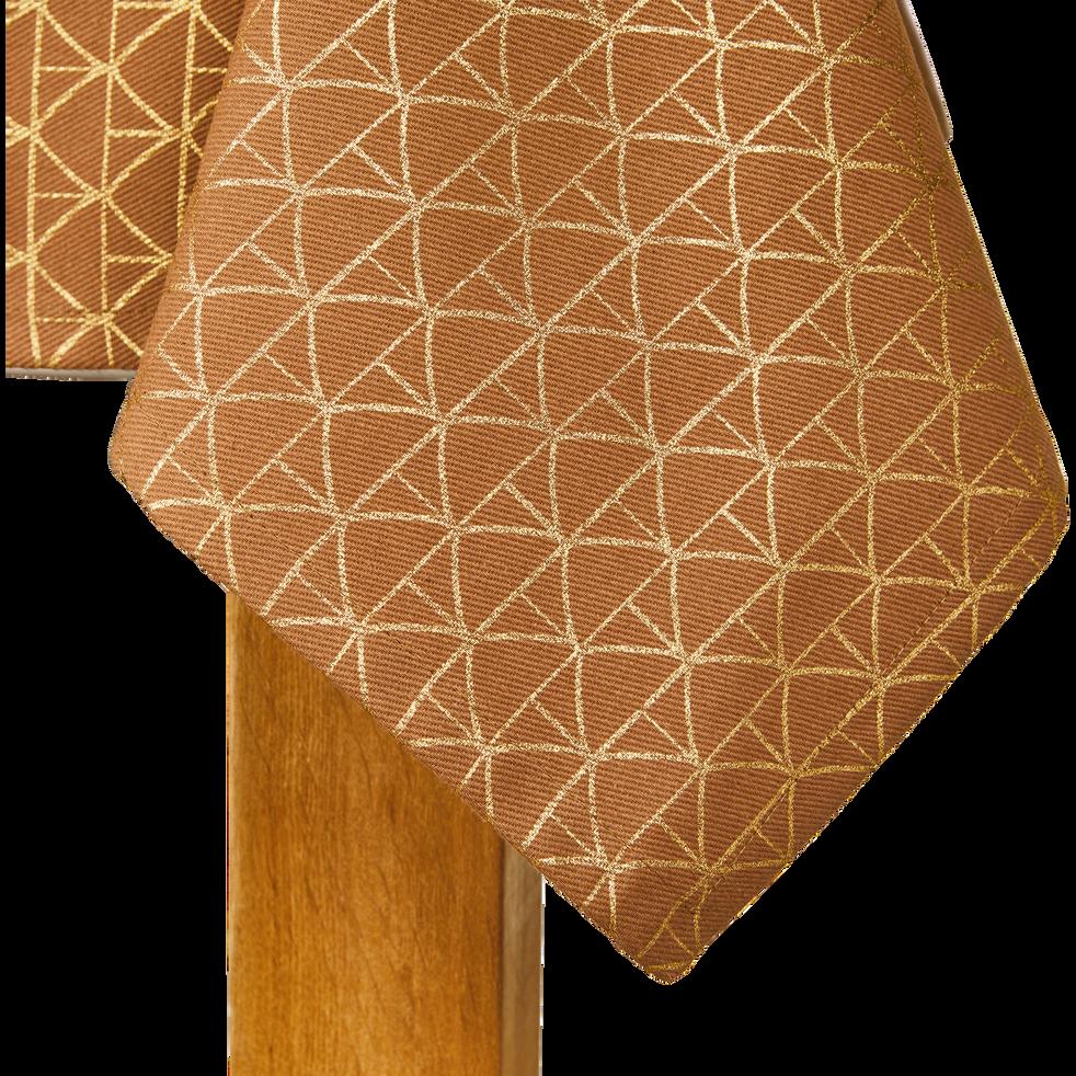 Nappe en coton beige à motifs dorés 140x250cm-BUSTA