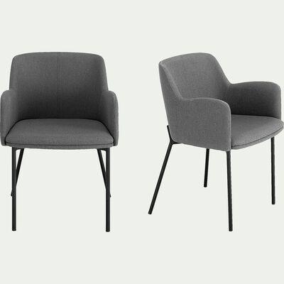 Chaise en tissu avec accoudoirs - gris restanque-TINOU