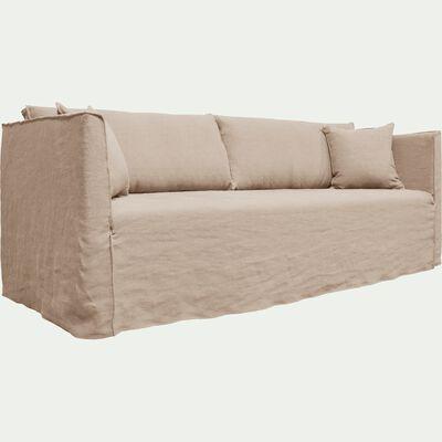 Canapé 5 places fixe en lin beige roucas-VENCE