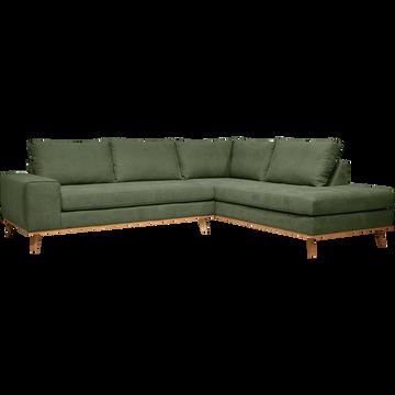 Canapé d'angle fixe droit en tissu kaki-PICABIA