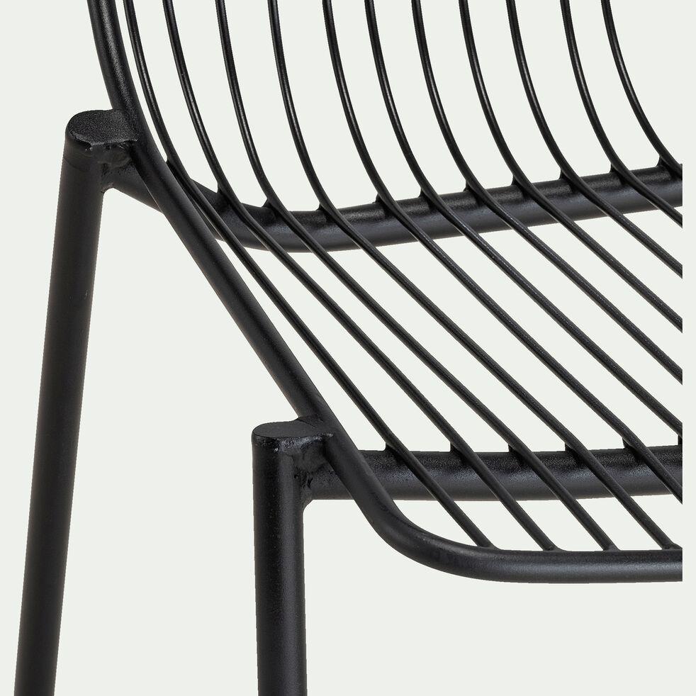 Chaise repas intérieur et extérieur en acier -  noir-MALDI