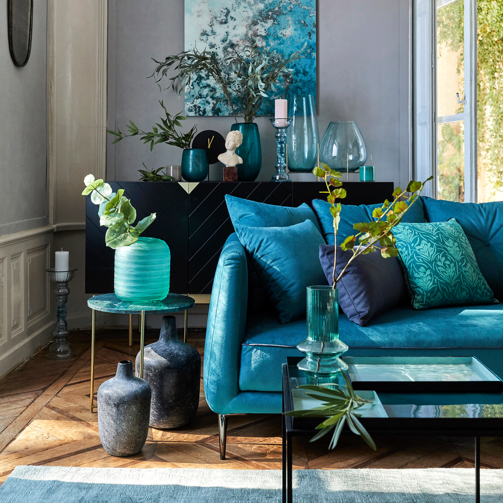 bout de canap carr en m tal noir et bleu niolon arcas. Black Bedroom Furniture Sets. Home Design Ideas