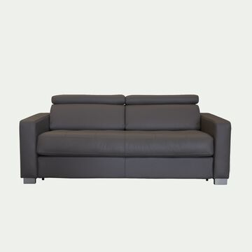 Canapé 3 places fixe en cuir avec accoudoir 15cm - taupe foncé-MAURO