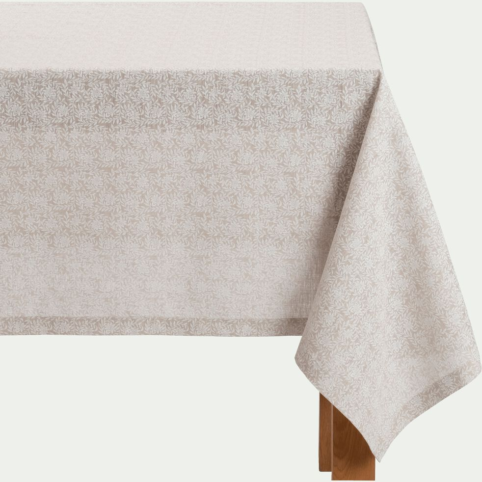 Nappe en lin et coton coloris naturel motifs jasmin 170X250cm-ST REMY