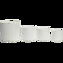 Cache-pot blanc en plastique H23,3xD25cm-B FOR