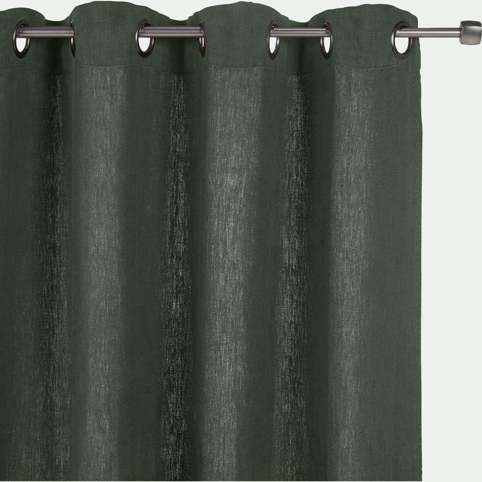 Rideau à œillets en lin lavé - vert cèdre 140x280cm-VENCE