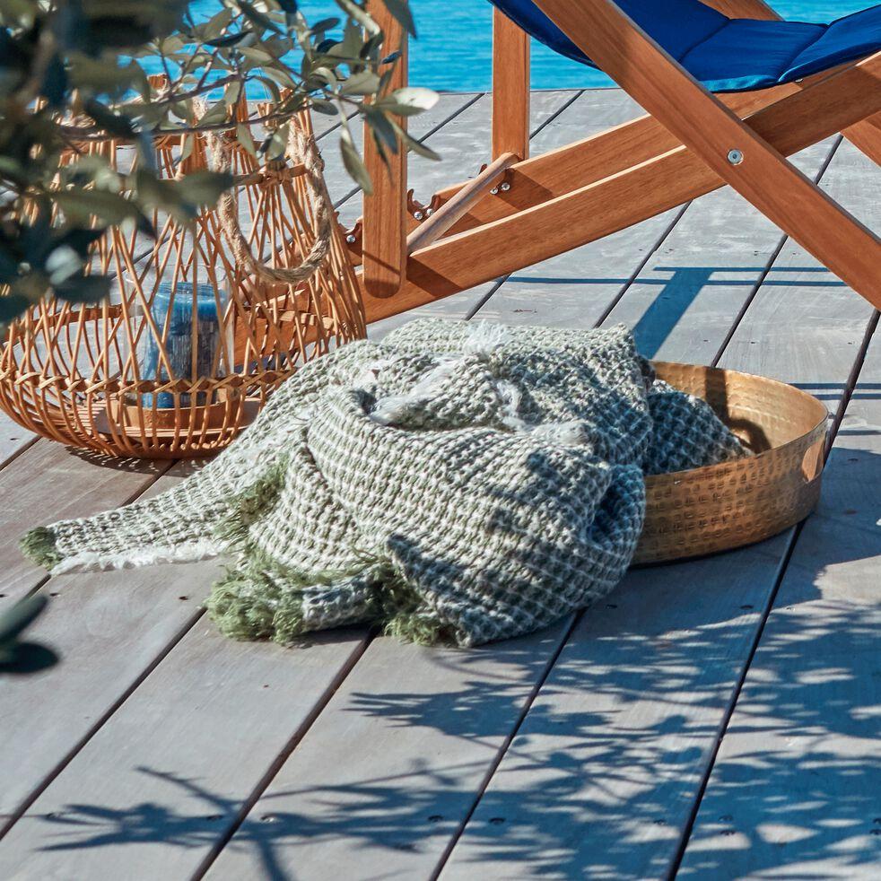 Plaid nid d'abeille en lin - vert cèdre 123x185cm-LUCIEN