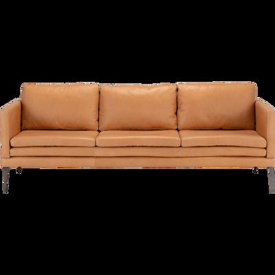 Canapé 3 places fixe cuir aniline beige esterel-PALMIE