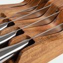 Planche en acacia avec 5 couteaux en inox-STORAGE