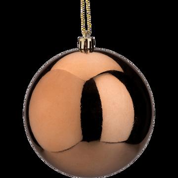 Boule de Noël en plastique marron D10cm-MIIAD