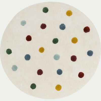 Tapis enfant tufté rond motif pompons d120cm - blanc pompons colorés-Ella