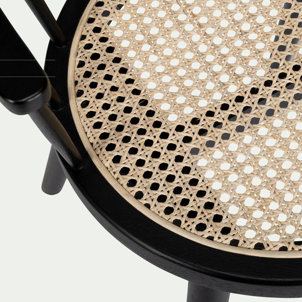 chaise en cannage avec accoudoirs - noir-FOGGIA
