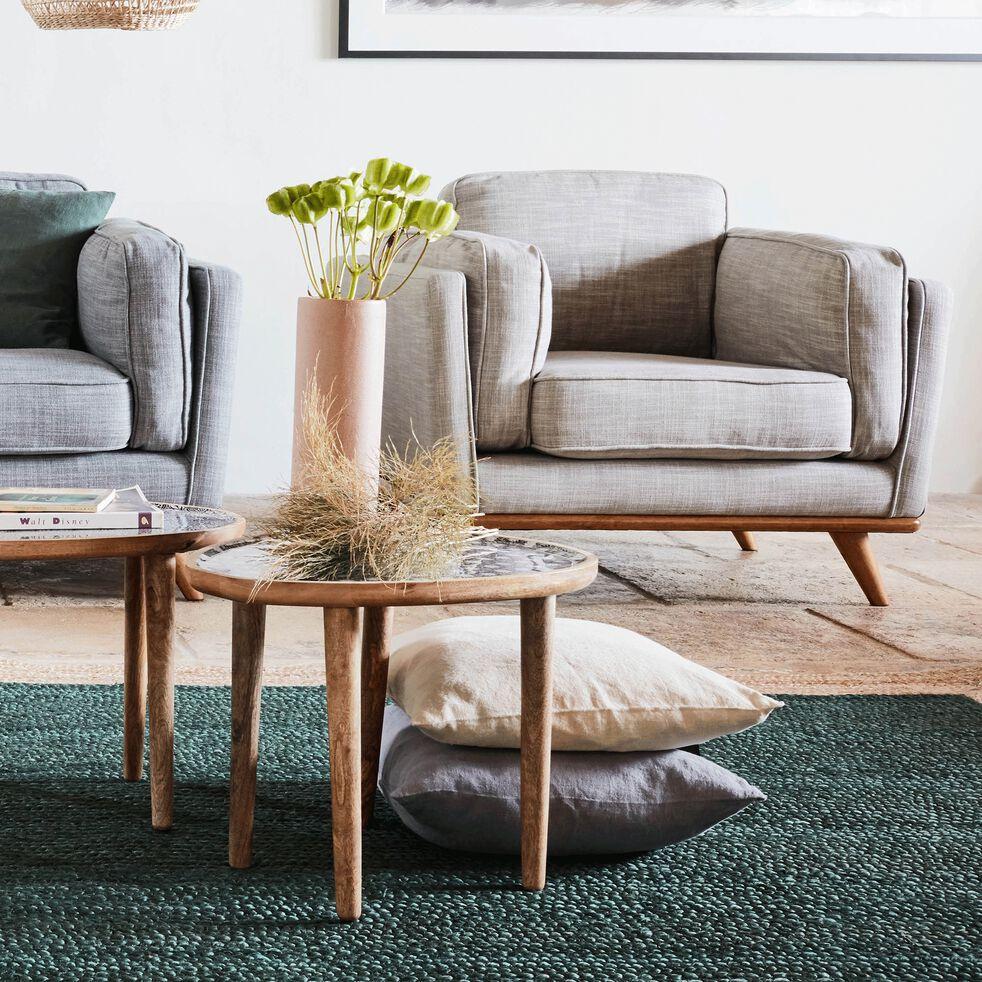 Bout de canapé en manguier avec plateau motif jasmin-SOULA