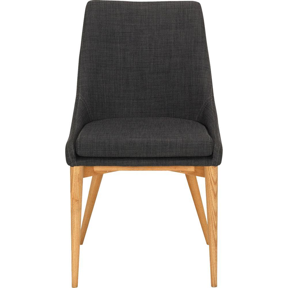 Lot de 2 chaise en tissu gris foncé piètement bois (prix unitaire : 129.0 euros)