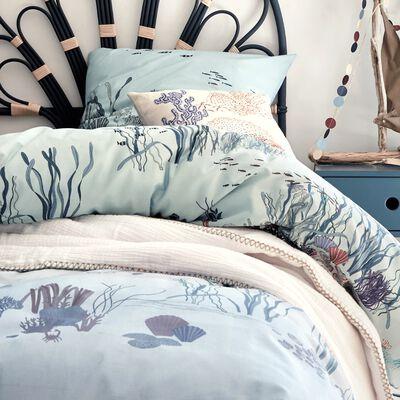 Housse de couette enfant à motifs - bleu 140x200cm et 1 taie d'oreiller 63x63cm-Forêt marine