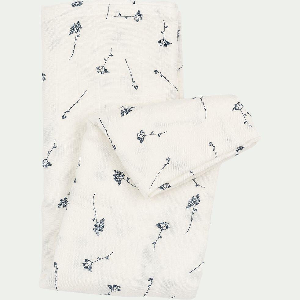 Lange bébé en coton bio à motifs 120x120cm - Blanc-Graminées