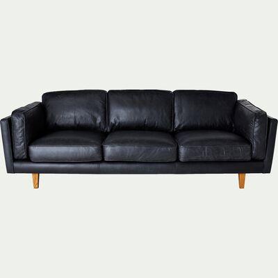 Canapé 3 places fixe en cuir de vachette - noir-BROOKLYN