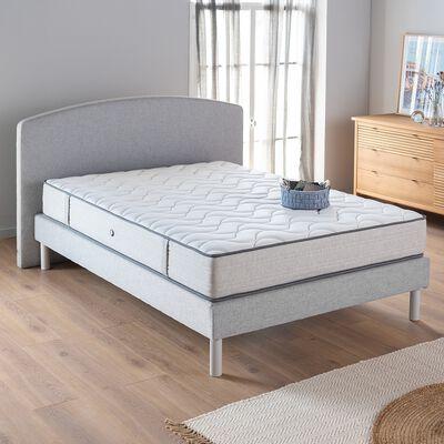 Ensemble de lit tête de lit galbée - gris 140x200cm-ROUSSILLON