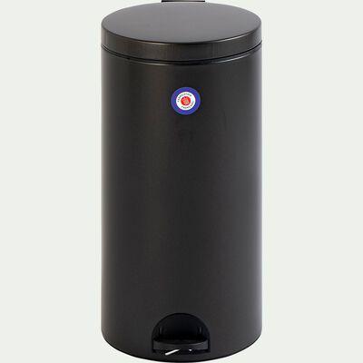 Poubelle en acier et plastique - noir 30L-ELORA