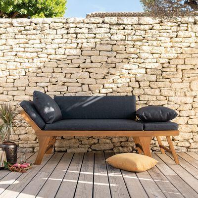 Canapé de jardin en acacia et coussin gris anthracite-REGUSSE