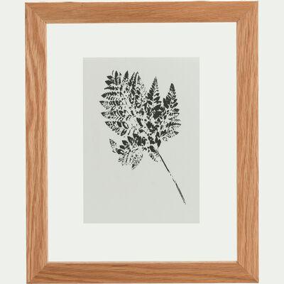Image encadrée fougère de cuir - 34x44cm chêne-NATAQUA