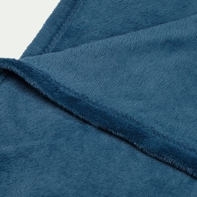 Plaid effet polaire - bleu figuerolles 130x170cm-ROBIN