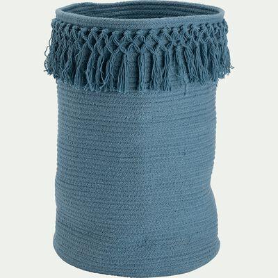 Panier de rangement frangé en coton - bleu autan D30xH45cm-Lisa