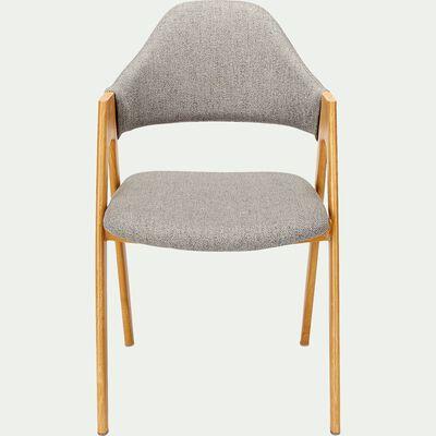 Chaise en tissu et effet bois - gris vésuve-GARETTE