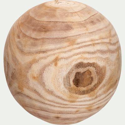 Boule décorative en bois de paulownia - naturel D13,5cm-VICTOR
