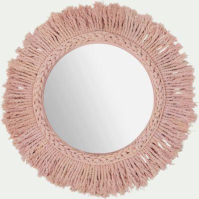 Miroir mural avec franges en coton - rose rond d35cm-Louis