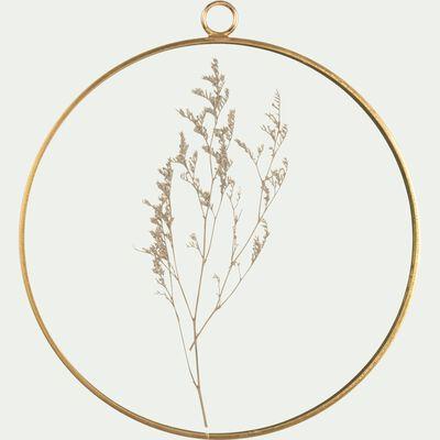 Décoration à suspendre en verre et fleurs séchées - doré H20cm-PIMA