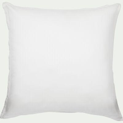 Lot de 2 taies d'oreiller rayées en satin de coton - blanc capelan 65x65cm-SANTIS