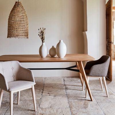 Table de repas rectangulaire bois et acier L200cm - 6 places-FANETTE
