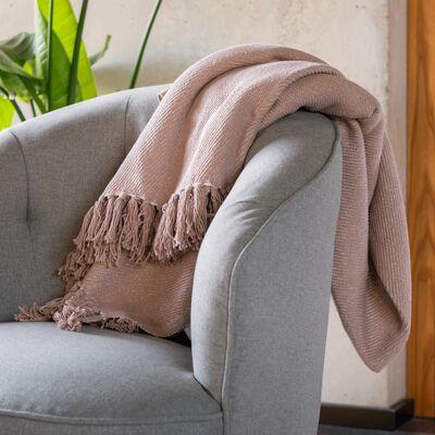 Plaid tissé à franges en coton - rose argile 130x170cm-SEVILLE
