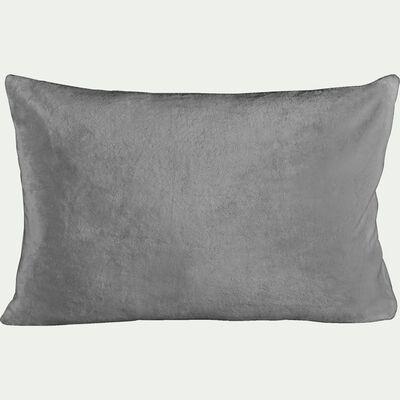 Housse de coussin effet polaire - gris restanque 40x60cm-ROBIN