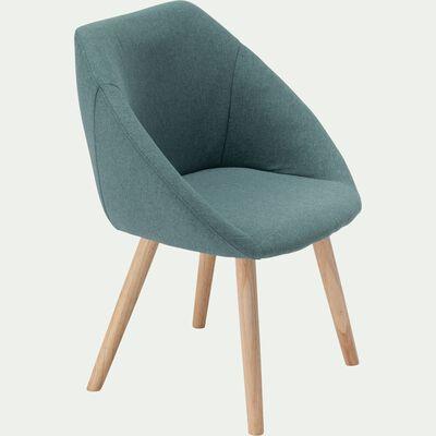 Chaise en tissu avec accoudoirs et piétement naturel - vert cèdre-DELINA