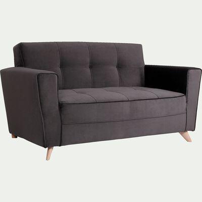 Canapé 2 places fixe en velours - gris-VICKY