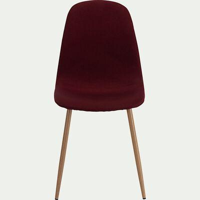 Chaise en acier effet bois et tissu - rouge sumac-LOANA